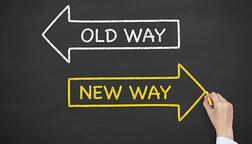 two arrows pointing to old way vs new way