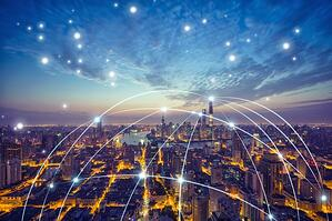 abstract net hanging over city under starry sky