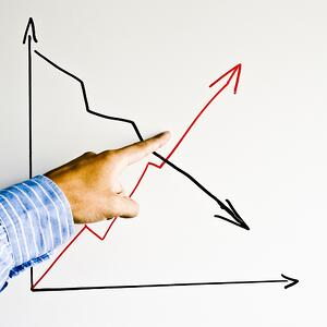 graph with two arrows trending up and down