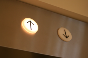elevator with up button lit up