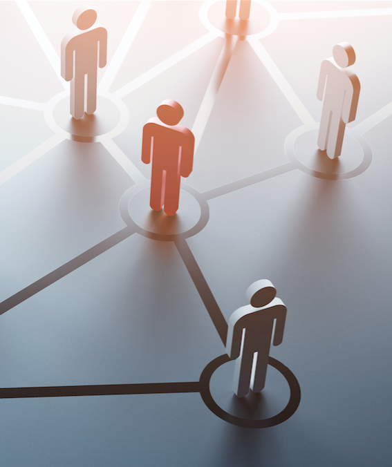 People connected by lines in a Referral Network