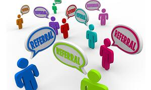 """colorful stick figures saying """"referral"""" in speech bubbles"""