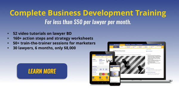 Complete business development training for less than $50 per lawyer per month - the Practice Boomers content license. Learn more.